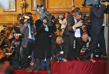 Photographers and cameramen wait for the arrival of Pope Benedict XVI and Patriarch Bartholomew I in Istanbul