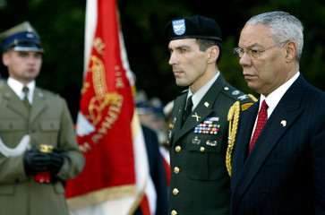 U.S. Secretary of State Collin Powell pays tribute to the fallen fighters of the World War Two Warsa..