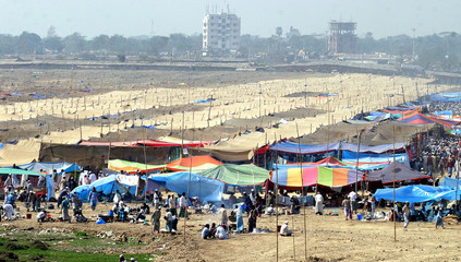 General view of venue of Ijtema as Muslims congregate, on outskirt of Dhaka