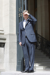 Belgium's Prince Philippe waits for Spain's Prince Felipe in Brussels