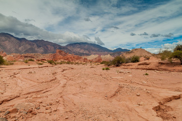 Rock formations in Quebrada de Cafayate valley, Argentina
