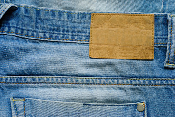 Old blue denim jeans wirh blank label