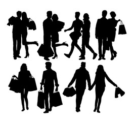Couples Man and Woman Shopping Silhouettes, art vector design