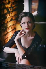 beautiful young woman. Retro fashion style