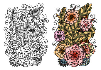 Fantasy flowers/floral coloring book page - Hand drawn doodle - Floral patterned vector illustration - Sketch for colouring 