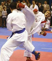 Hani Shaker of Egypt kicks Wesam al Arfawi of during Kumite Karate match at Pan Arab Games in Cairo