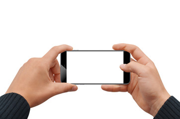 Isolated male hands holding modern phone in horizontal position