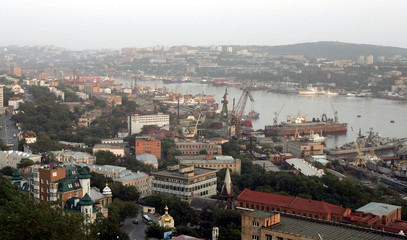 A view of Zolotoy Rog (Golden Horn) bay in Russia's far eastern city of Vladivostok