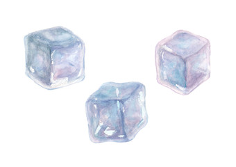 Set of three watercolor ice cubes isolated on white background