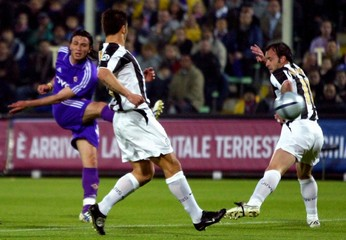 Fiorentina' s Pazzini scores against Juventus during their Italian Serie A soccer match in Florence.