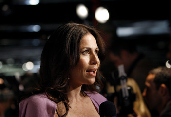 Minnie Driver is interviewed at the season two premiere screening of The Riches at the Pacific Design Center in Los Angeles