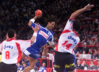 JACKSON RICHARDSON OF FRANCE IN ACTION AS HE ATTACKS EGYPTIAN GOAL DURING THE SEMI-FINAL MATCH OF ...