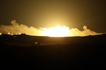 Explosion is seen after Israeli air strike in northern Gaza Strip