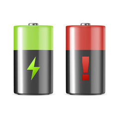 Vector realistic alkaline charging batteries icon set. Design template. Closeup isolated on white background.