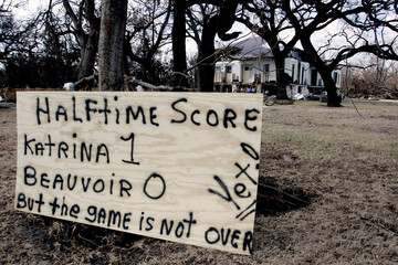 Sign sits in front of home of Confederate president Davis in Biloxi Mississippi after Hurricane Katrina.