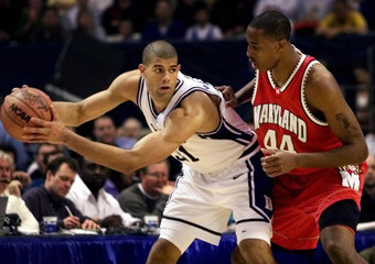 DUKE FORWARD SHANE BATTIER IN ACTION AGAINST MARYLAND IN NCAA SEMIFINALS.