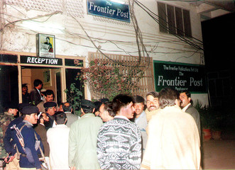 PAKISTANI POLICE OFFICIALS SHUT DOWN ENGLISH DAILY NEWSPAPER IN PESHAWAR FOR PRINTING A ...