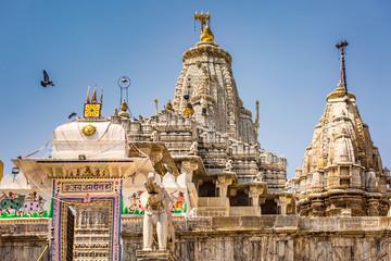 Tall roof of Hindu Temple Udaipur India.
