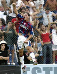 Peirone of San Lorenzo celebrates after his first goal against Boca Juniors in Buenos Aires.