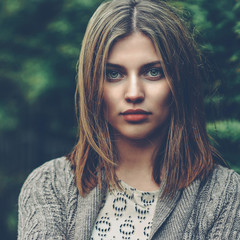 Beautiful calm girl portrait - close up