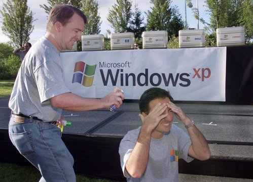 WINDOWS XP DEVELOPERS CELEBRATE RELEASE OF PROGRAM TO MANUFACTURING.