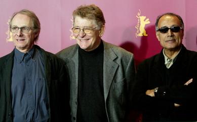 British director Ken Loach, Italian director Ermanno Olmi, Iranian director Abbas Kiarostami (L-R) p..