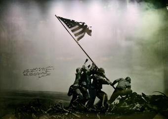 Picture of US Marines raising flag on Iwo Jima Island is shown at the new National Museum of the Marine Corps in Quantico Virginia