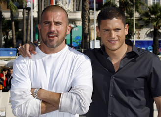 "Actors Dominic Purcell and Wentworth Miller, stars of the drama series ""Prison Break"", pose during a photo-call in Cannes"