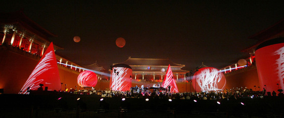 French electronic music artist Jean Michel Jarre plays in the Forbidden City in Beijing.
