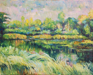 Oill color painting of landscape on canvas