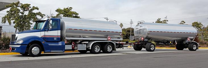 Double fuel tanker truck.