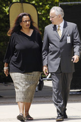 Marie Lisbeth Barnes departs after testifying in Michael Jackson's child molestation trial at the Santa ...