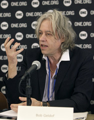 Irish musician and political campaigner Bob Geldof speaks at a news conference at the IMF