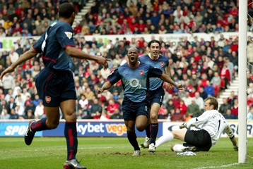 ARSENAL'S WILTORD CELEBRATES HIS GOAL DURING THEIR MATCH AGAINSTMIDDLESBROUGH AT THE RIVERSIDE STADIUM.