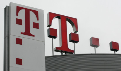 The logo at company headquarters of Deutsche Telekom AG is pictured in Bonn