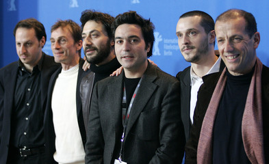 Cast members pose during a photocall to present the film 'In Memory Of Myself' running in competition at the 57th Berlinale International Film Festival in Berlin