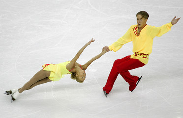 Russia's Obertas and Slavnov perform their pairs short program in the European Figure Skating ...