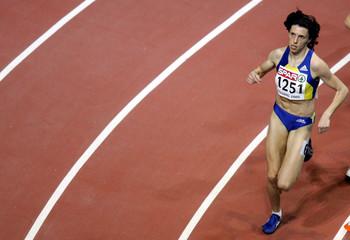 Romanian Iagar runs to win the women's 1500m final at European Indoor Athletics Championships.