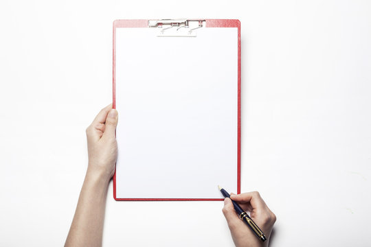 woman hand hold a clipboard isolated white.
