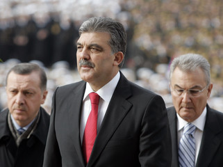 Turkish President Abdullah Gul attends a wreath-laying ceremony in Ankara