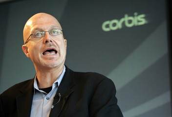 Corbis President and Chief Executive Steve Davis speaks at their annual meeting in New York March 14..