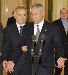 COLIN POWELL AND ISLAM KARIMOV MEET IN TASHKENT.