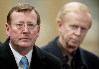 ULSTER UNIONIST LEADER TRIMBLE SPEAKS IN DOWNING STREET AFTER MEETING BRITAIN'S PRIME MINISTER BLAIR.