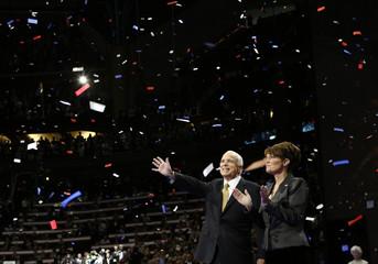Republican presidential nominee Senator McCain waves with vice presidential nominee Alaska Governor Palin at Republican National Convention in St. Paul