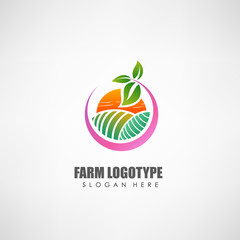 Farm concept logo template. Label for natural products, eco culture, and other. Vector illustration