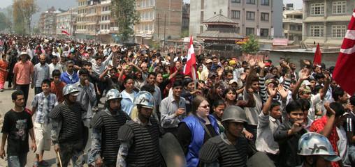 Nepali pro-democracy supporters shout anti-monarch slogans in Kathmandu