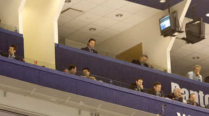 Toronto Maple Leafs General Manger John Ferguson  sits alone in the box at Air Canada Centre in Toronto