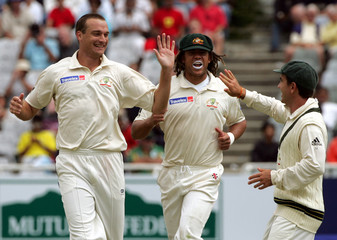 Australia's Clark celebrates wicket of South Africa's Boucher at Newlands in Cape Town, South Africa