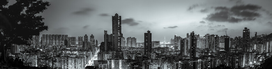 Wall Mural - Hong Kong cityscape with B&W color