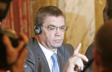 Medvedev, Deputy Chairman of OAO Gazprom, gestures during a news conference in Vienna